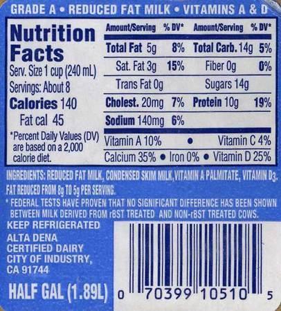 Alta Dena 2 Reduced Fat Milk Half Gallon 1 89 L It S Got The